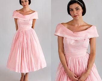Vintage Suzy Perette Dress / 1950s Pink Bridesmaid Dress