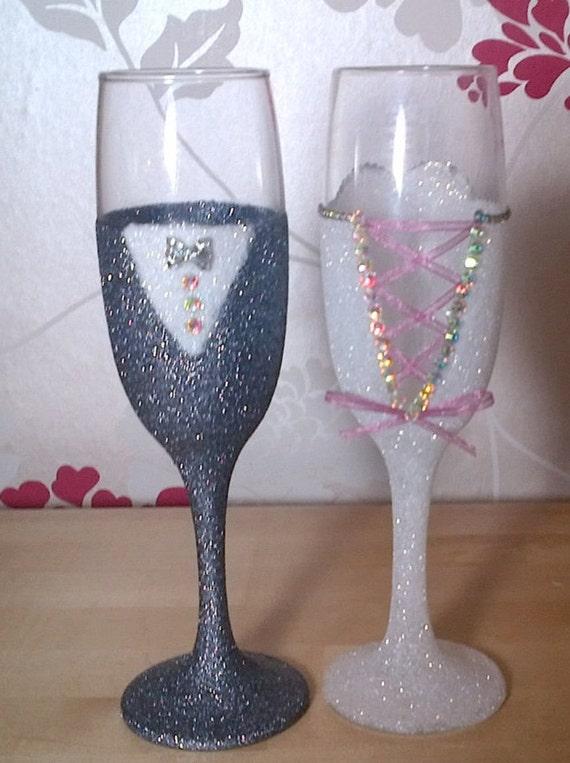 BRIDE And GROOM Wedding Glitter Glasses Mr Amp Mrs Glasses