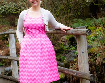 Juliee Dress - Pink Chevron Dress Available in sizes 2-14