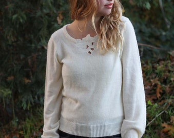 Vintage White Sweater with Floral Embroidery