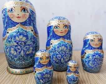 Nesting doll Gzhel - nesting dolls russian matryoshka babushka nested doll matrioshka Stacking dolls kod954