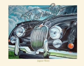 Art print of of black Jaguar xk150 painting A true Classic Car.