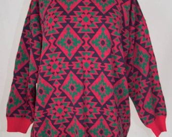 Vintage Pink Geometric Knit Jumper