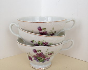 Set of Three Vintage Violet Tea Cups With Gold Trim