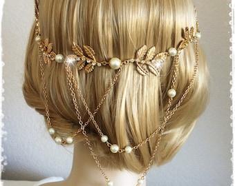 """Greek Goddess Laurel Leaf Crown-Bridal Gold Leaf Head Wrap Halo-Wedding Grecian Gold Leaf Headpiece-Art Deco Gold Leaf Hair Wrap-""""APHRODITE"""""""