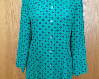 90s Leslie Faye Dresses Petite Secretary Hipster Art Deco Print Tunic Mini Dress