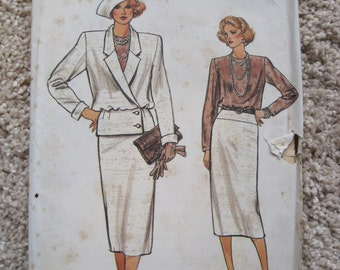 UNCUT Misses Jacket, Skirt and Blouse - Vogue Sewing Pattern 9141 - Size 12, 14, 16 - Vintage 1990's