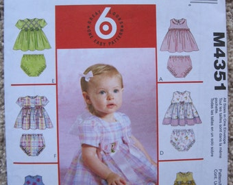 UNCUT Infants Dresses and Panties - Size Small to XL - McCalls Pattern M4351
