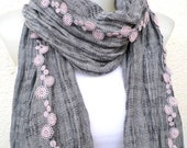 Cotton scarf, Gray scarf, Fashion scarf, Flowers scarf, Light pink flowers, Light gray scarf,Spring scarf, Gift for Her, Infinity gray scarf
