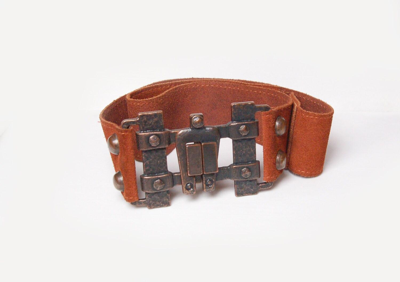 vintage brown leather belt retro style belt