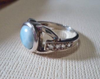 Larimar White Topaz .925 Sterling Silver Ring. Size 7.25