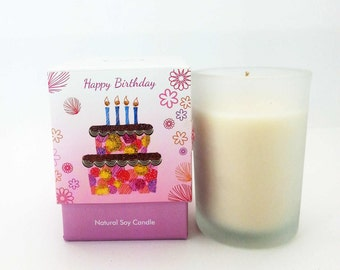 HAPPY BIRTHDAY Candle ~ CardCandle Collection ~ It is a candle with a greeting card built in the front of the box.