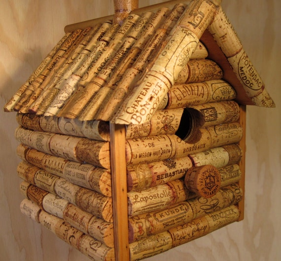 Wine cork and wooden log cabin style birdhouse by for How to build a birdhouse out of wine corks