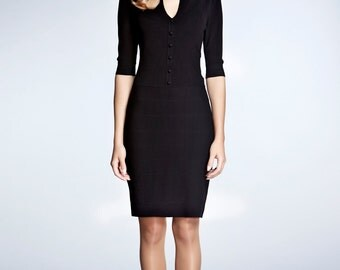 GRACE - Black knitted bodycon dress
