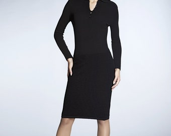 OLIVIA - Black soft merino wool-blend knitted dress
