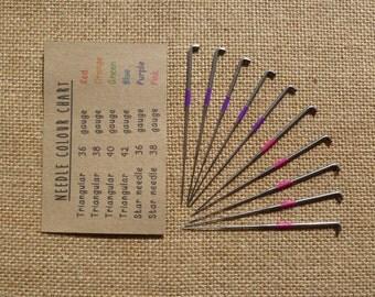 10 star felting needles, rainbow colour coded needles 36 gauge felting 38 gauge felting needles -needle felting needles  merino wool roving