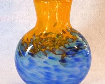 Blue and Gold Round Handblown Glass Vase