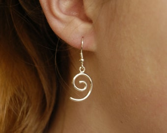 Spiral drop earrings, hand-made in solid 925 Sterling silver
