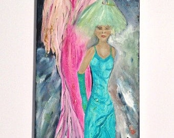 FASHION SHOW   gorgeous colorful oil painting on stretched canvas,one of a kind beautiful and happy  NOW********* Free Shipping**********