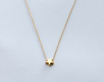 gold star necklace, mini 14k gold plated star necklace, tiny gold star necklace
