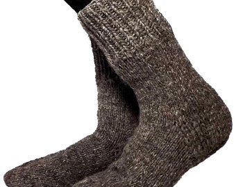 Warm socks 28-30 cm - foot length 11-11.8 inches, dark grey sheep wool. For fishing, hunting, tourism, work, wear boots or simply at home