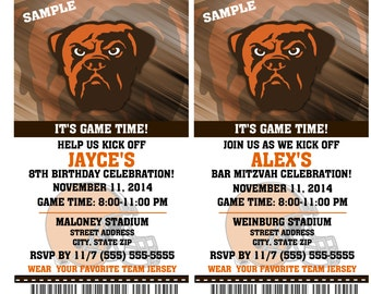 Printable Birthday Party Invitation Card Cleveland Browns Birthday Ticket Invitation Football Weddings Baby Showers Bar Mitzvahs