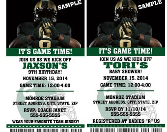 Printable Michigan State Spartans College Football Birthday Party Invitation NCAA Ticket Invitation Baby Shower Invitations