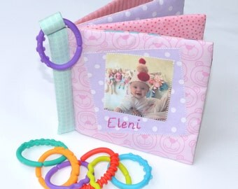 CUDDLE BOOK- 'PINKS'– Personalised cloth fabric baby photo album, Photos printed on soft safe cotton pages, Handembroidered name