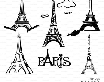 Silhouette Paris, Eiffel Tower (eps, svg, dxf, ai, png) french Vector ClipArt Decal Vinyl Wall Sticker Digital Cutting Cameo EasyCutPrintPD