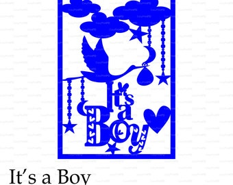 New Baby It's a Boy card paper cut (svg, dxf, eps, png) file vinyl Wall Art Nursery Overlay decal Silhouette Cameo EasyCutPrintPD