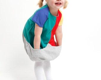 Carmencita – Coloured balloon dress with big pocket, Size 98-104 (3-4 y.)