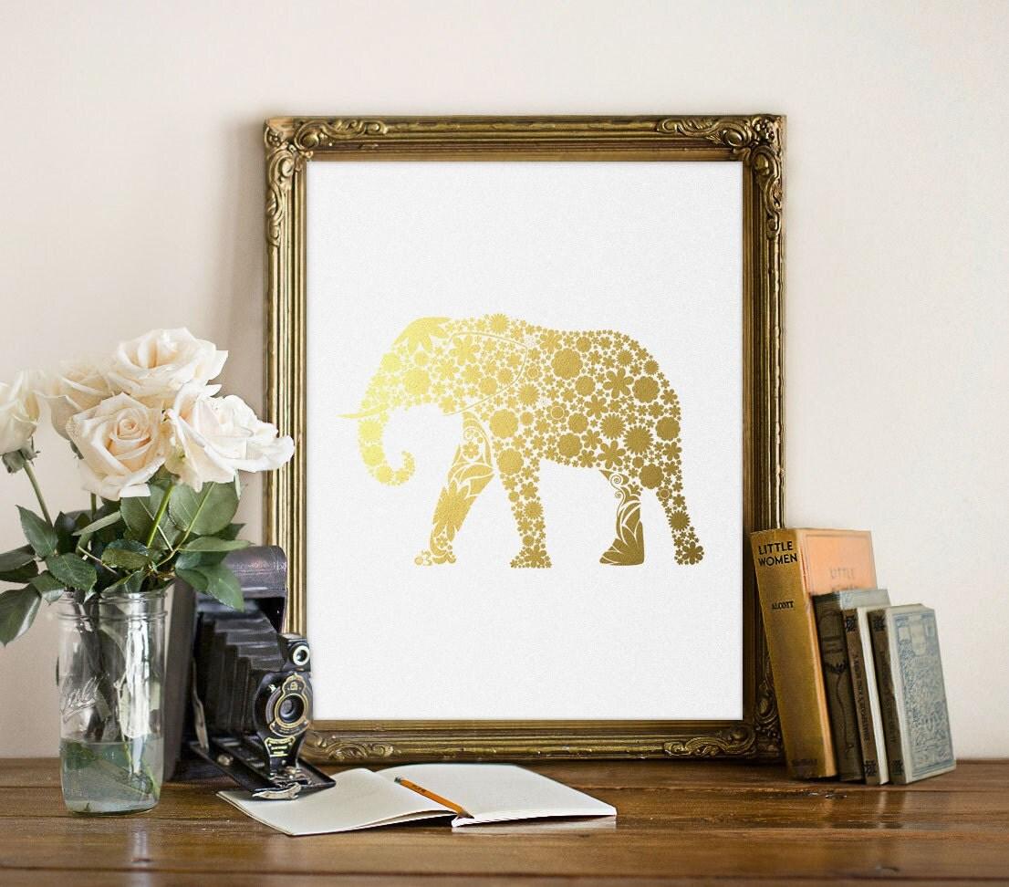 Gold Elephant Wall Decor : Gold elephant print foil wall art