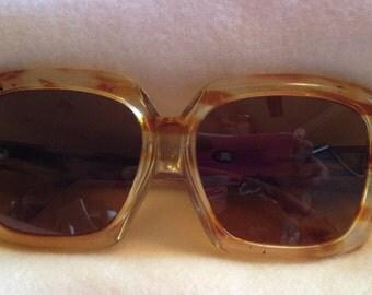 Renauld Vintage sunglasses, made in France.  Brindle/orange.