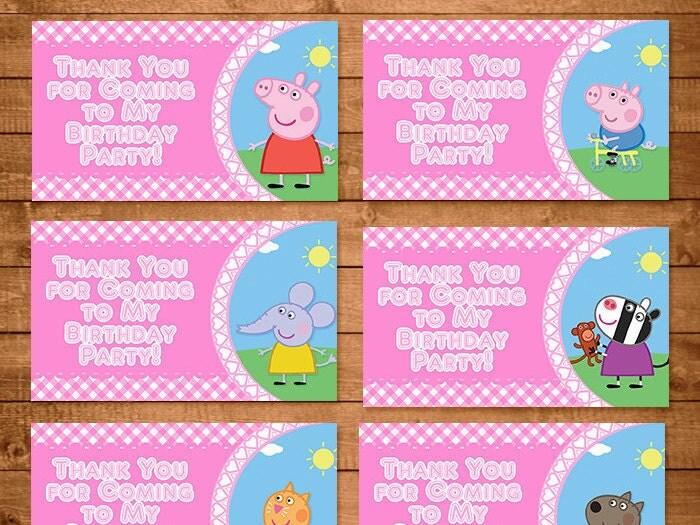 goodie bag tag template - peppa pig goody bag tags pink plaid peppa by