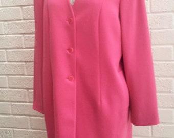 Womens vintage 1980's Pink dress coat .UK size 14.