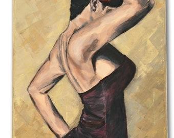 Flamenco dancer woman, romantic acrylic handmade art