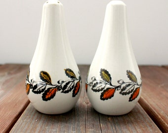 1960s Vintage Salt and Pepper Shakers - White with Autumn Leaf made in England