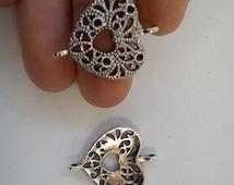 10 heart connector joiner charm pendants antique silver tibetan tone jewellery making wholesale