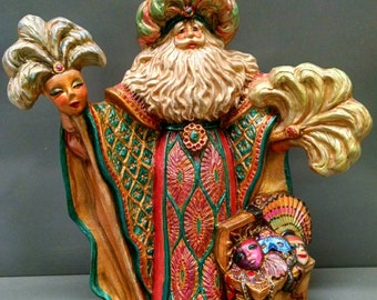 Mardi Gras Santa -- Heirloom-quality handpainted ceramic Santa -- Christmas mantel decor
