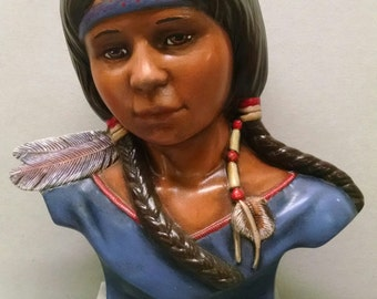 SALEIndian Girl Bust--Native American Indian Figurine--Heirloom Quality--Hand-painted Ceramic--Home Decor--Native American Art