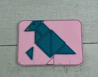 READY TO SHIP Bird Tangram Puzzle w/Storage Pouch, Quiet Game, Toddler Toy, Travel Toy, Party Favor