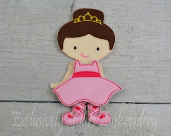 Ballerina Felt Paper Doll and outfit - Party Favor - Pretend Play - Quiet Game - Travel Toy - Flat Doll - Paper Doll - Dress Up Doll
