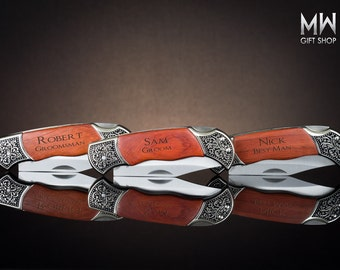 Pocket Knife, Personalized Pocket Knife, Groomsmen Gift, 7 Custom Pocket Knifes, Engraved Pocket Knife, Wedding Gift, Birthday Gift.