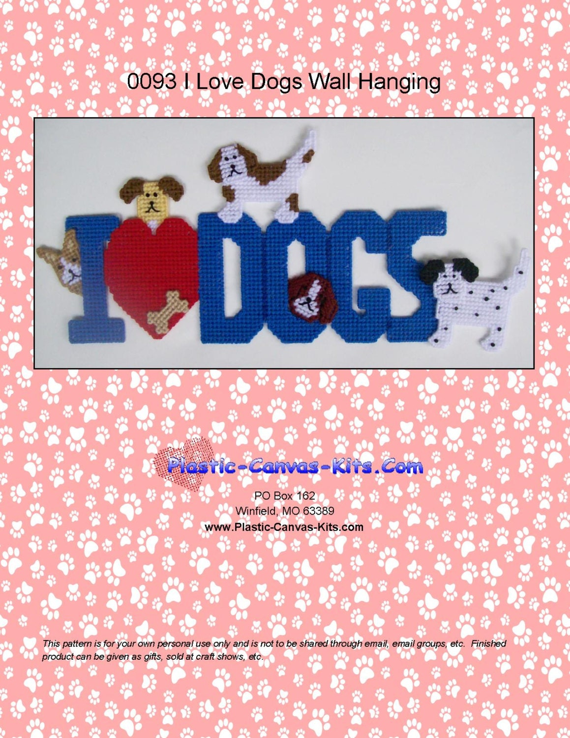 I Love Dogs Wall Hanging Plastic Canvas Pattern Pdf