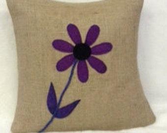 Burlap Pillow Cover 16X16 Purple Flower Design
