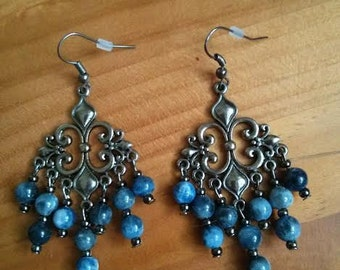 Blue Sodalite, Slate/Black Chandelier Earrings