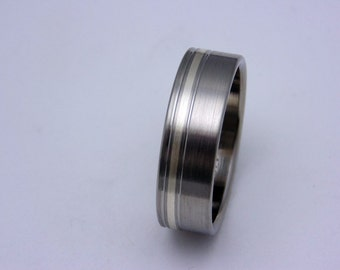 Satin finish, Titanium ring, Silver inlay, Wedding band, Gift for her, Gift for him, any occasion gift, Birthday gift idea