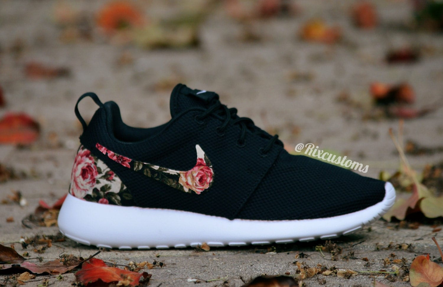 a770a918a676e Floral Nike Roshe Run Custom Black White Roses MEMORIAL DAY