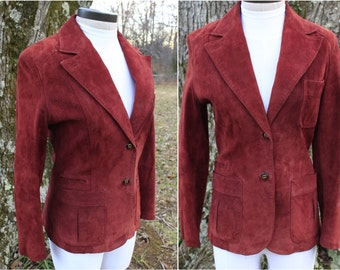 Vintage Etienne Aigner Suede Burgundy Jacket.  Vintage Genuine Suede Leather Blazer with Elbow Patches