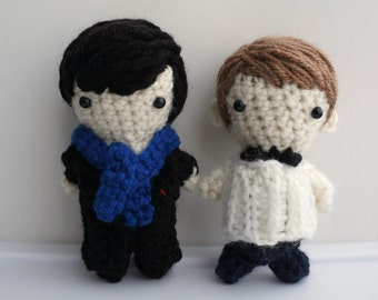 Crochet Amigurumi Sherlock Holmes / John Watson from BBC Sherlock: For ONE only (made to order)
